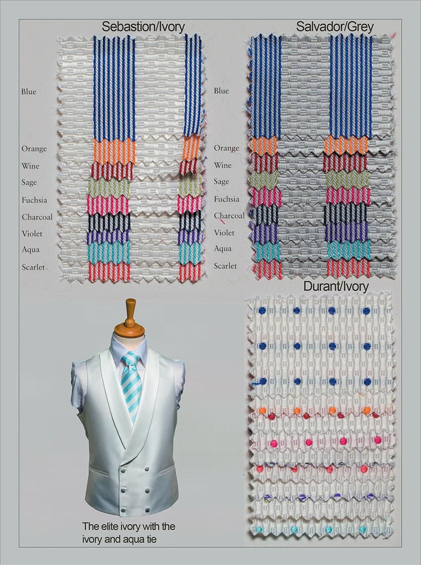 Matching neckwear colours for Elite range waistcoats